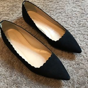 J. Crew black suede pointed toe ballet flats